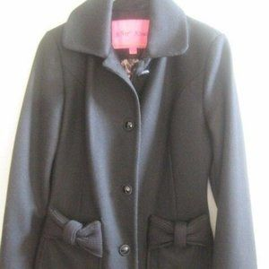 Betsey Johnson Black Wool Blend Coat Size 2 EUC